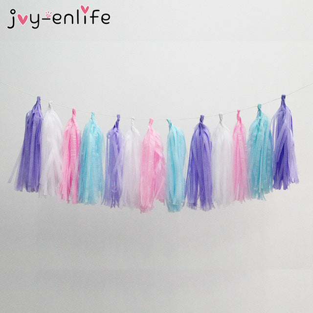 JOY-ENLIFE 1set Rainbow Unicorn Party Set Unicorn Mask Photo Props Paper Tassels Garland Foil Balloon Baby Shower Birthday Decor