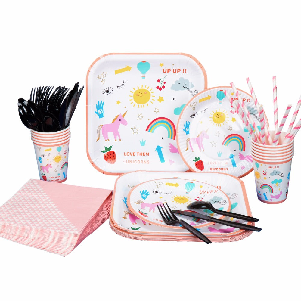 Unicorn Birthday Party Set (10 Packs Plates, Cups, Dringking, Straws, Napkins)