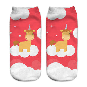Red Unicorn Women Socks