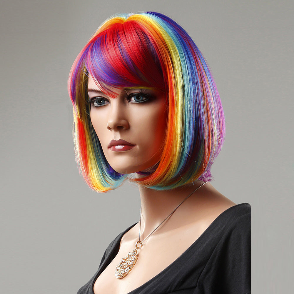 12/22 inch Synthetic Hair Rainbow Short Wigs