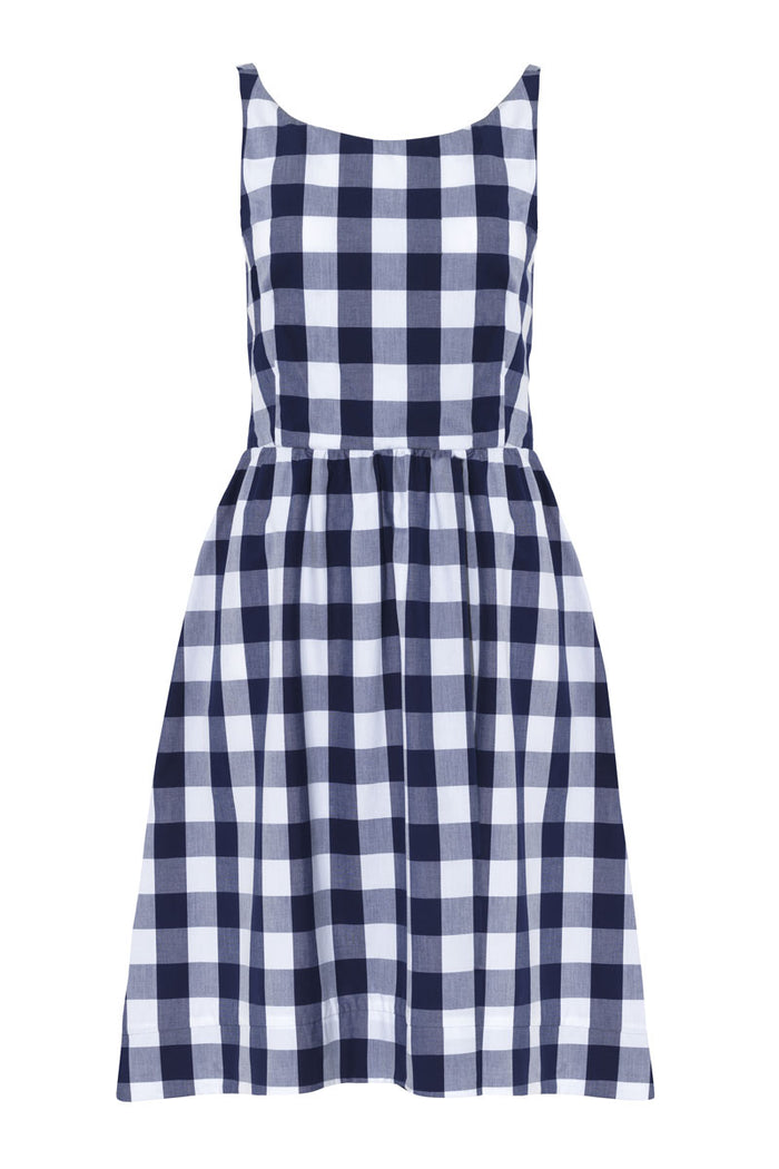 Pieris Dress · Navy Gingham