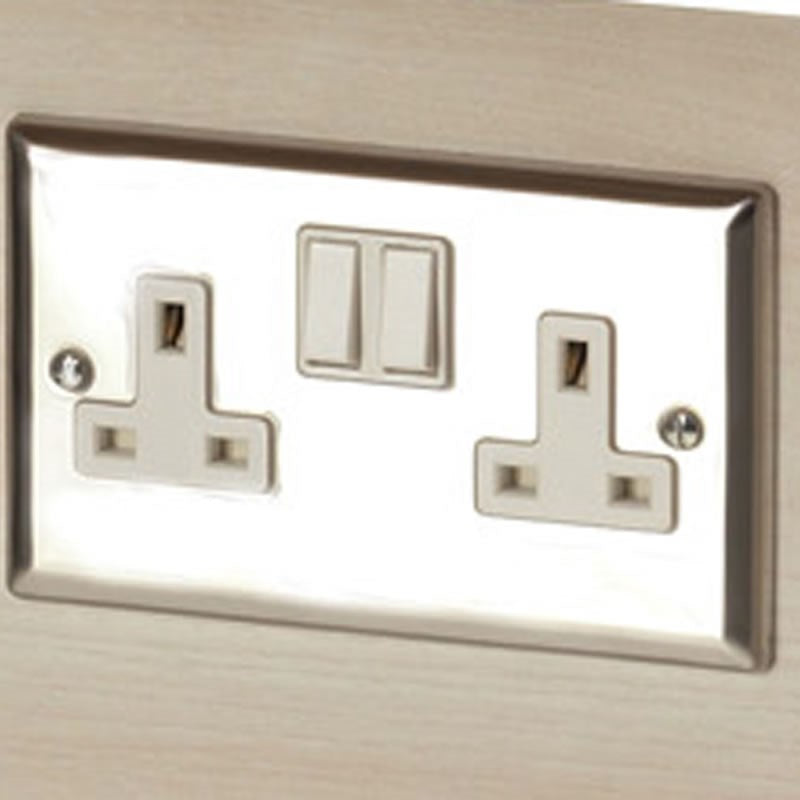 REM Chrome Twin Electrical Socket - Island Unit - Wired To Top Of Unit With Plug