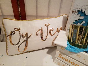 "HANUKKAH ""OY VEY"" GOLD and LINEN PILLOW"