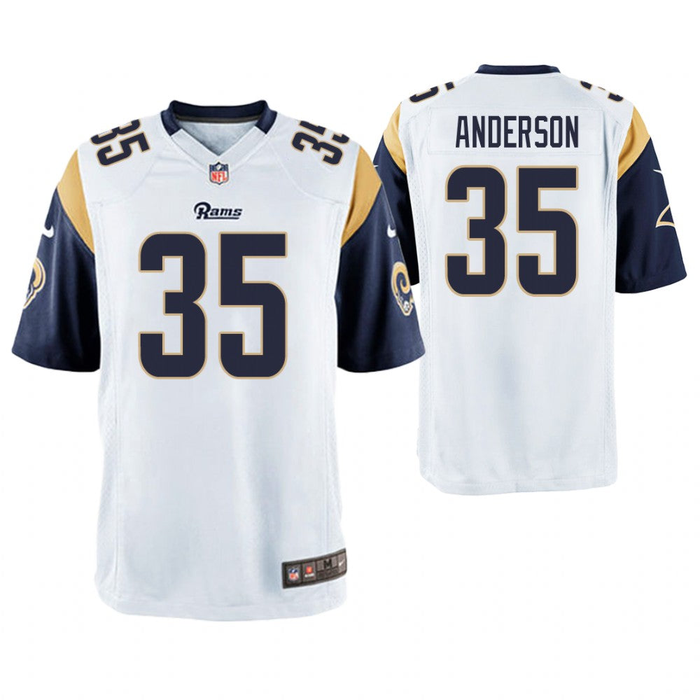 00804127643 Men Los Angeles Rams #35 C.J. Anderson White Game Jersey ...
