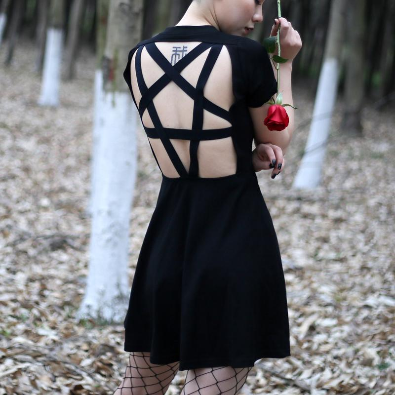 Women's Sexy Vintage Trendy Back Hollow Star Design Dress
