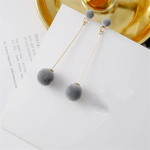 Fashion Plush Ball Drop Earrings