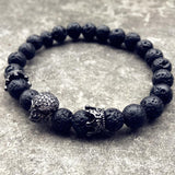 New Style Trendy Natural Beads Strand Skull Bracelet