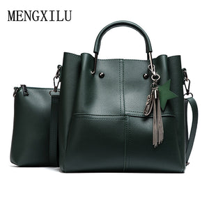 Women Solid Leather Tote Bag