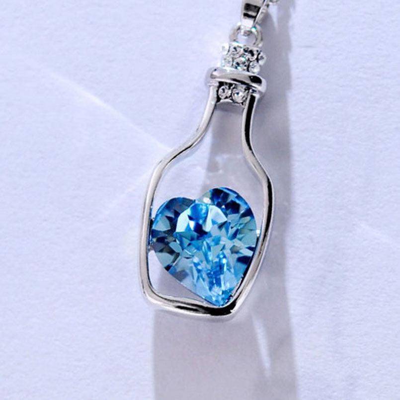 Women Bottle Heart Crystal Cute Pendant