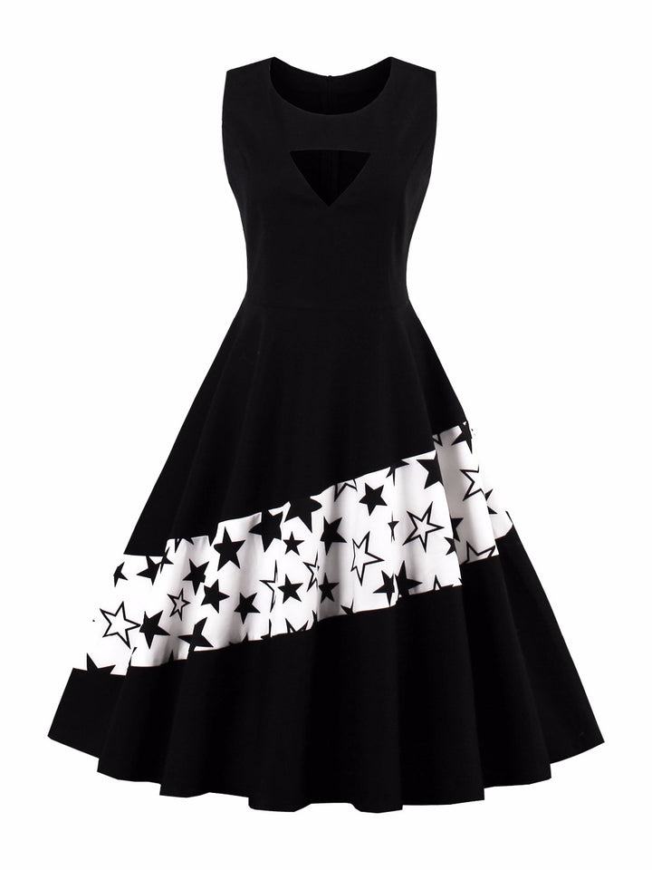 Women Black Star Patchwork Slim Waist Sleeveless Dresses