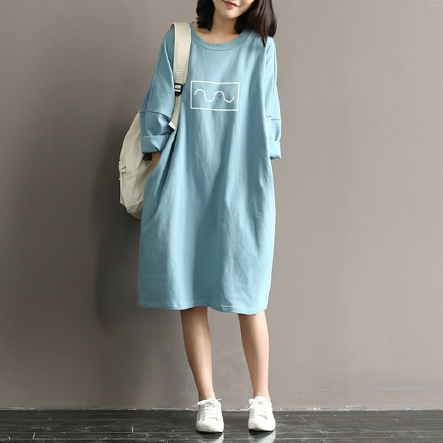 Women New Style Round Neck Blue Beige Printed Tunic Dress