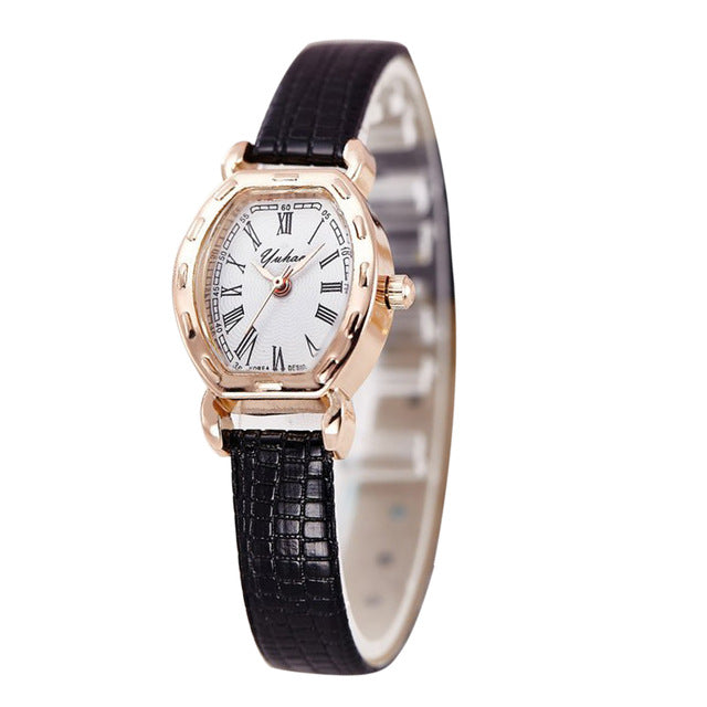 Quartz Women Gold Leather Wristwatch