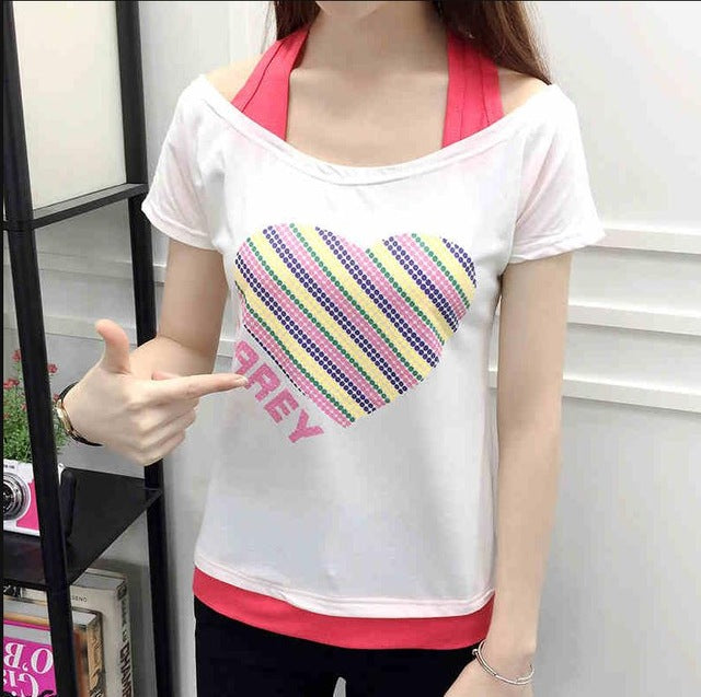 Women's Cool Summer Strap Off Shoulder Short Sleeve T Shirts
