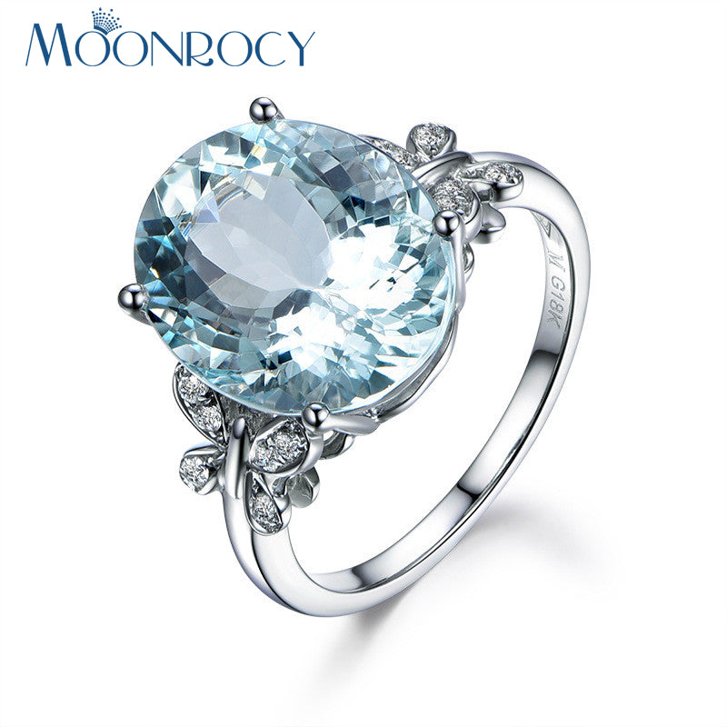 Women Light Blue Crystal Ring