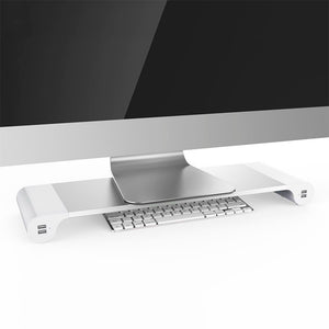 Aluminium Space Bar Stand Holder Desk Organiser with 4 USB Charging Ports For Laptop And Computer