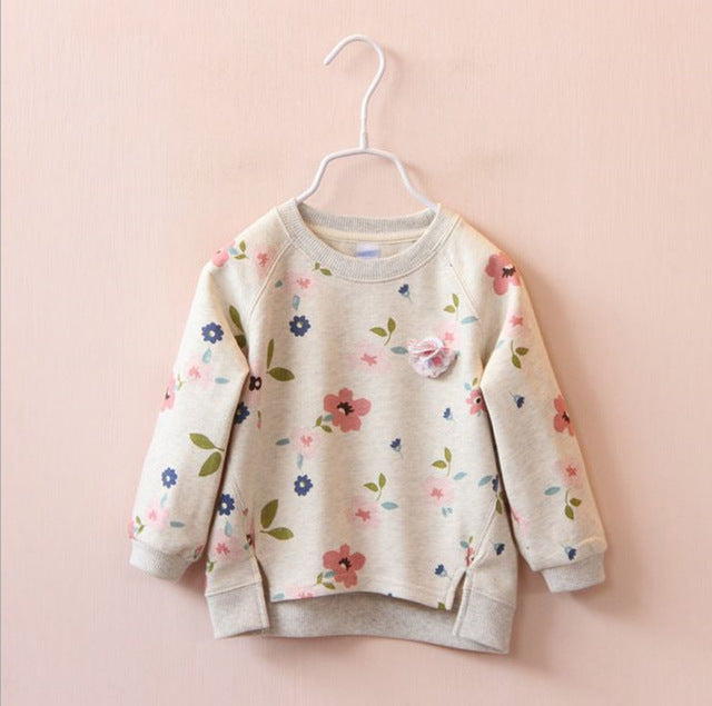 Baby Girls Floral Print Winter Cotton Warm Tops