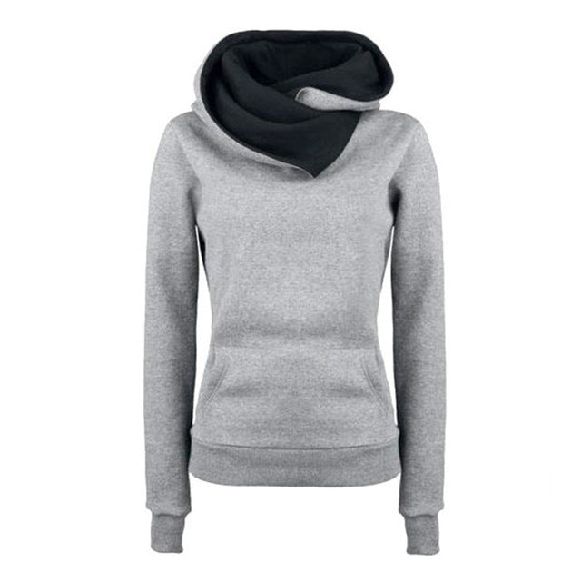 Women Turn-down Collar Casual Solid Hoodie