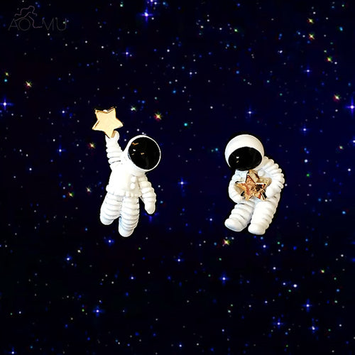 Space Star Asymmetrical Astronaut Earrings