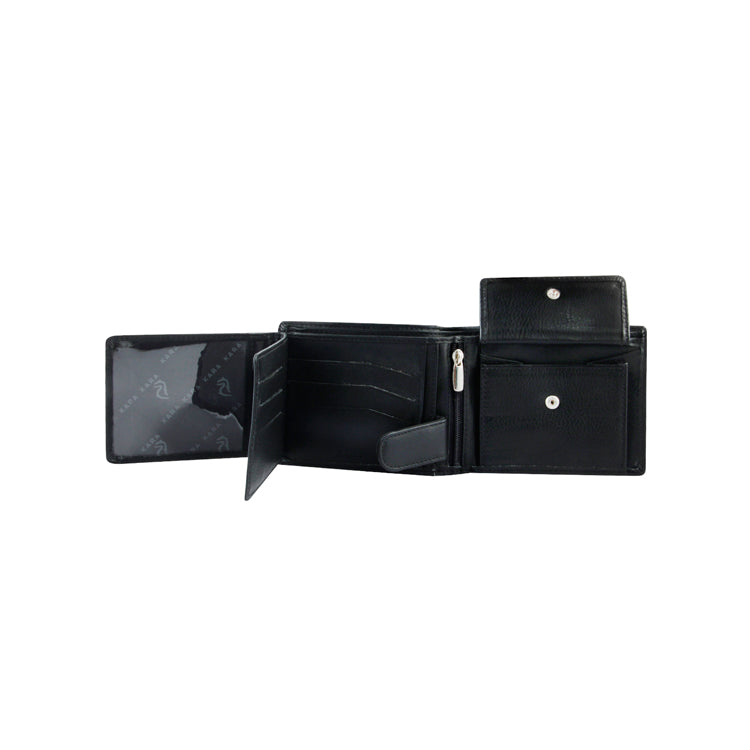 Genuine Leather Two Fold Wallet - Black ; Brown