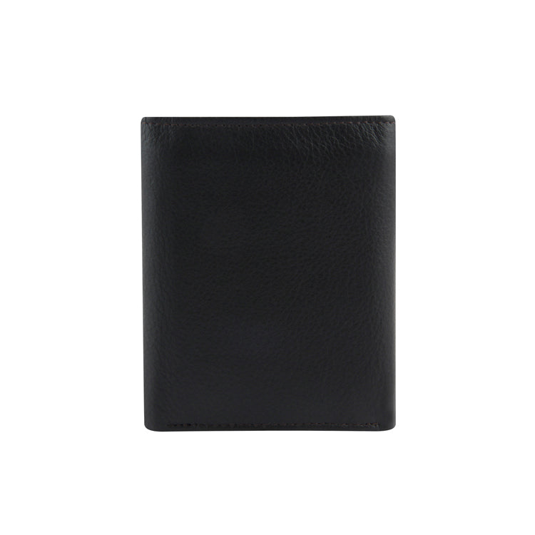 Genuine Leather Three Fold Wallet - Black ; Brown ; Tan