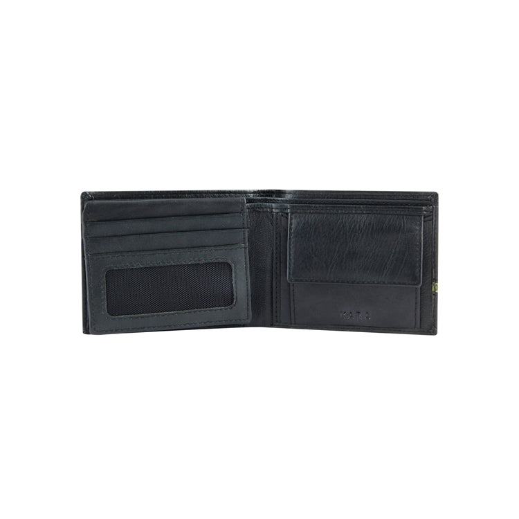 Genuine Leather Two Fold Wallet - Black & Green ; Black & Red