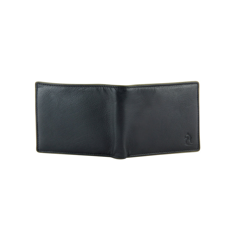 Genuine Leather Two Fold Wallet - Black & Red ; Brown