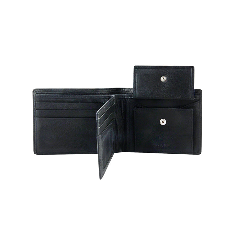 Genuine Leather Two Fold Wallet - Black ; Blue