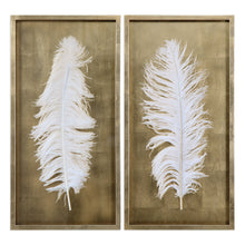 White feathers in gold shadow box - set of two
