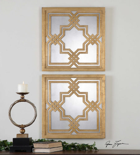 Piazzale Gold Leaf Mirrors Set of Two