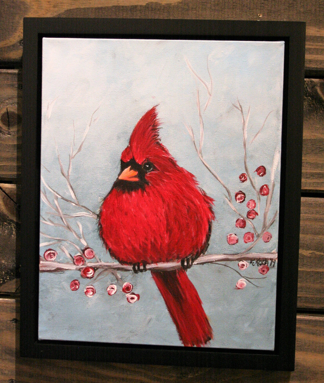 Fluffed Cardinal Acrylic Painting Class - Saturday, January 19th at 11 a.m.