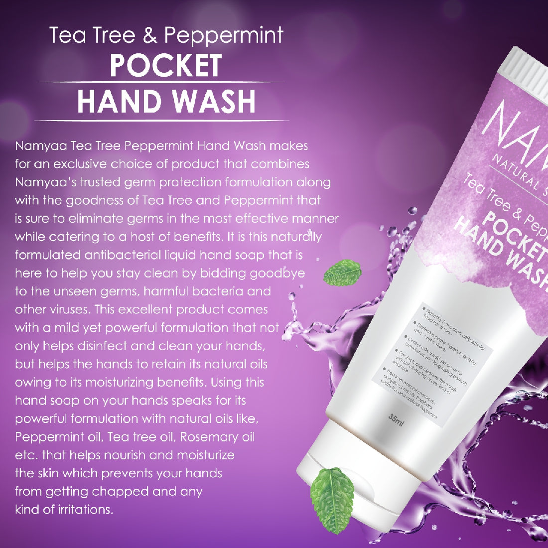 Namyaa Pocket Hand Wash- With Peppermint and Tea Tree Oil 35ml, Pack of 3