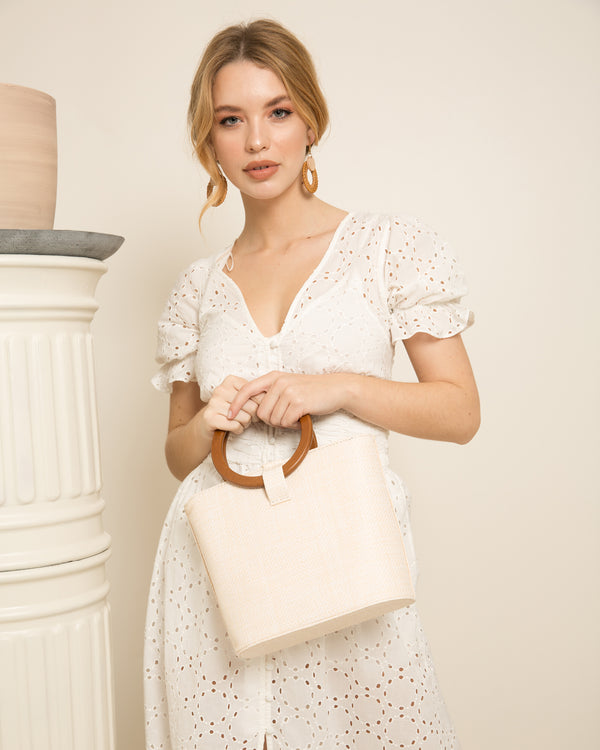 Constance Rattan Bag - Pale & Natural