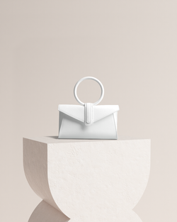 Simone leather bag in white front view on pedestal