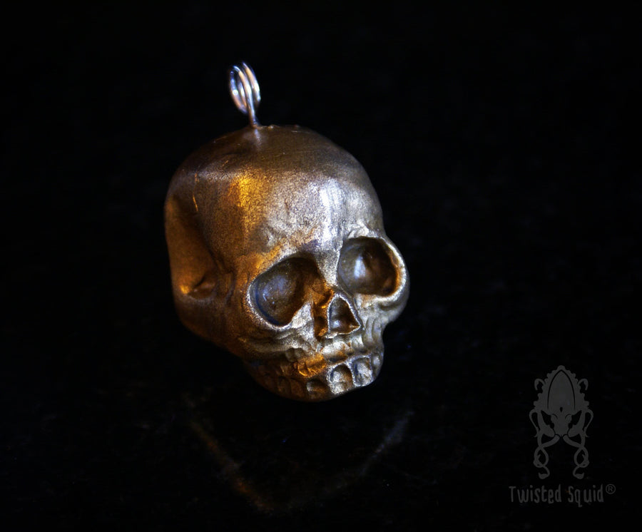 Polished Brass Skull Pendant - Twisted Squid