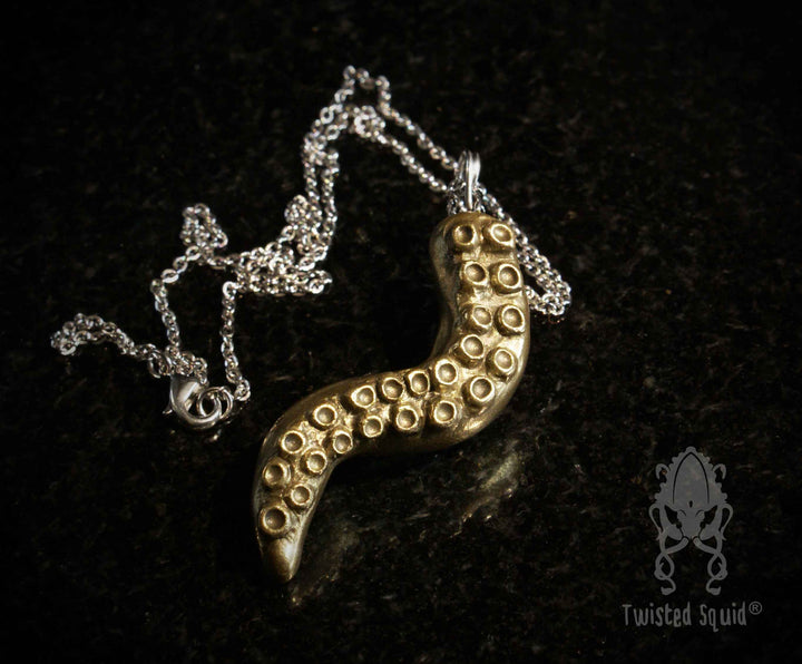 Handmade Brass Tentacle Pendant - Twisted Squid
