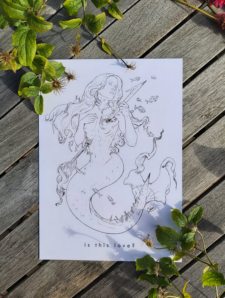 """is this love?"" A4 Mermaid Art Print"