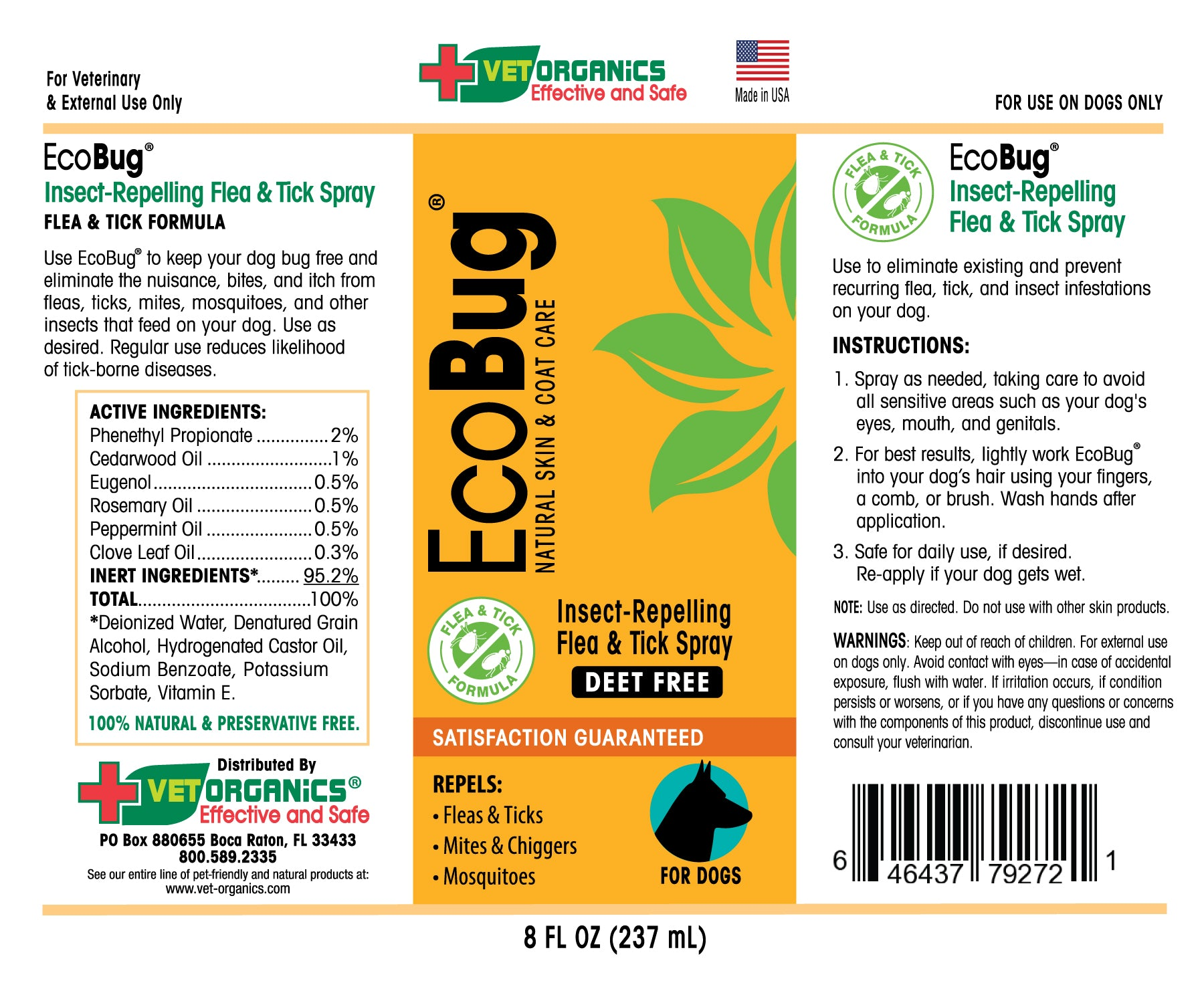EcoBug® Insect-Repelling Flea & Tick Spray for Dogs – Vet Organics