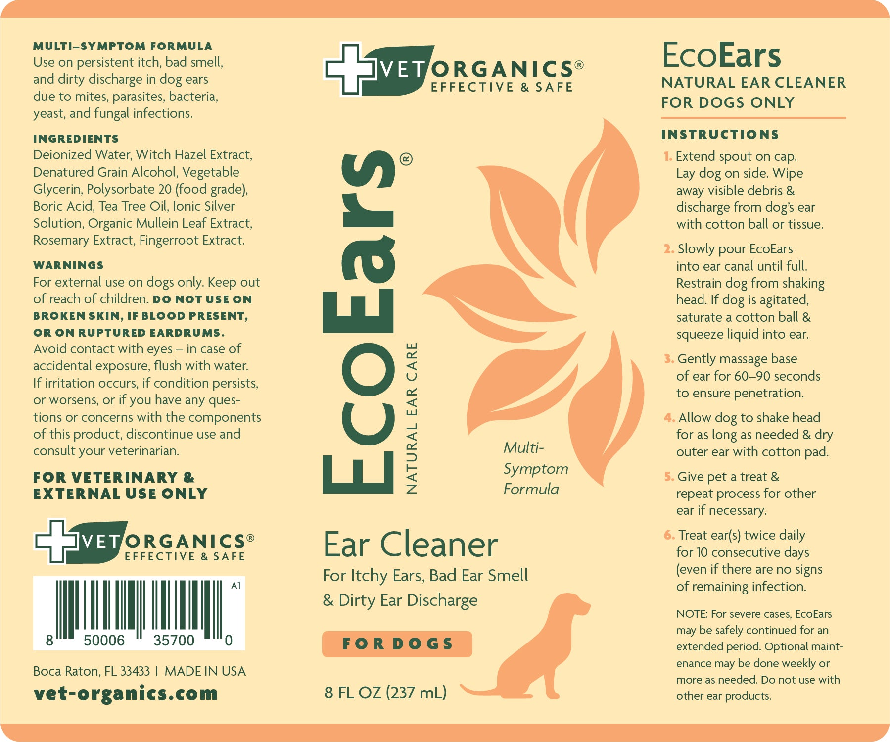 ecoears-dogs-8oz-product-label