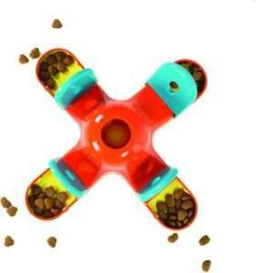 Outward Hound Kibble Drop Puzzle Dog Toy, Red & Teal