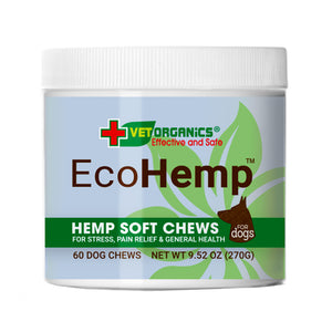 EcoHemp Organic CBD Chews for Dogs. Calming and Pain Formula, 60-ct jar
