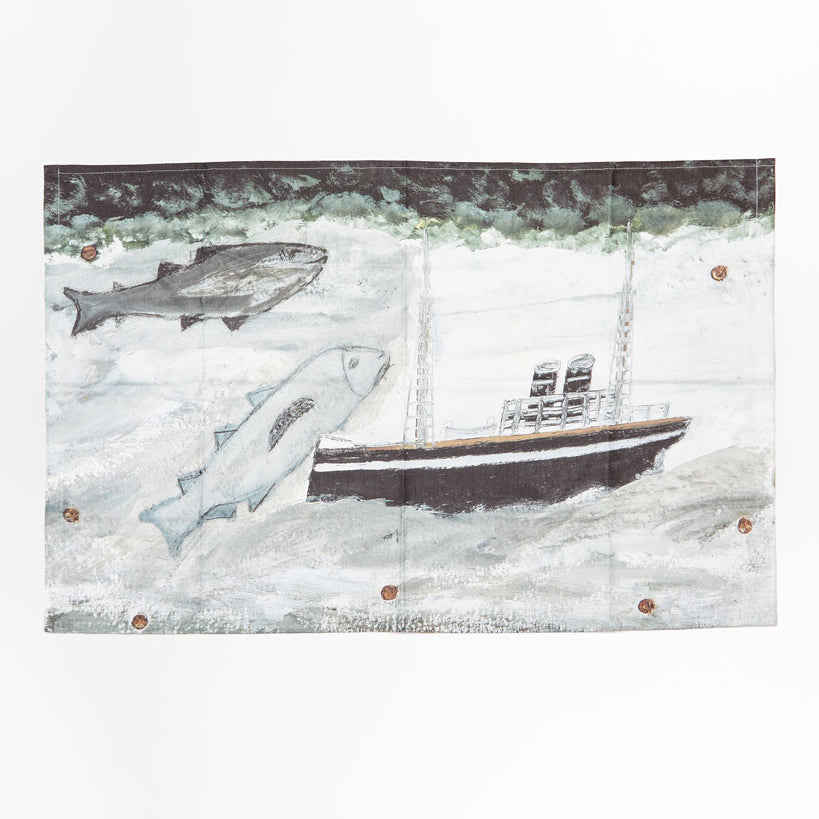 Countryside Art Alfred Wallis Land, fish and motor vessel Tea Towel 2