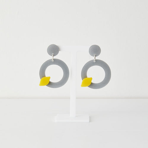 I am Acrylic I Am Acrylic Lemon on a Pewter Dish Earrings 1
