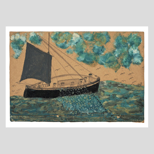 Langham Press Postcard Alfred Wallis Ship with seven men 1