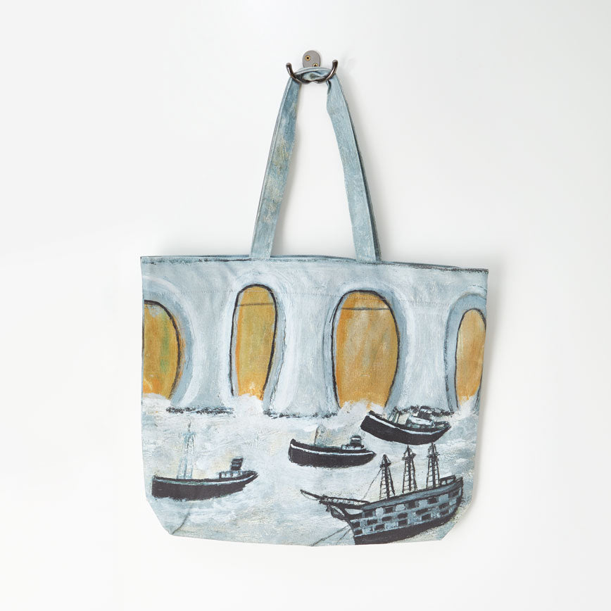 Paul Bristow Ltd Alfred Wallis Boats before a great bridge Tote Bag 1