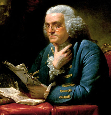 Ben Franklin wearing Windsors oval metal eye frames