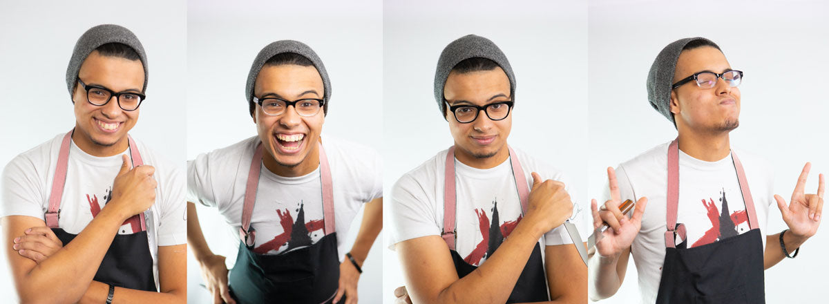 Chef Gabriel Lewis Wearing BeBops Black Eyeglasses and Cooking Apron
