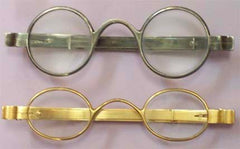 Antique 18th Century Oval Metal Eyeglasses