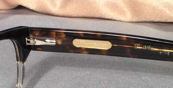 Ernest Hemingway Signature emblem on Eye Frames Temple