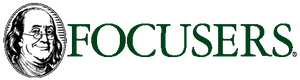 Focusers logo with Ben Franklin wearing eyeglasses