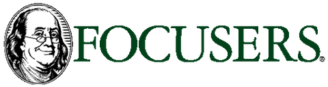 Focusers Eyewear logo with Ben Franklin